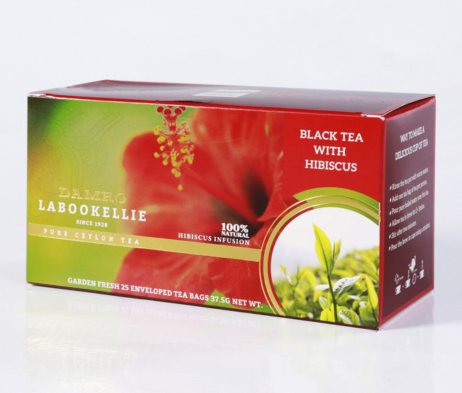Damro Labookellie Hibiscus Infusion Pure Ceylon Black Tea, 25 Count Tea Bags