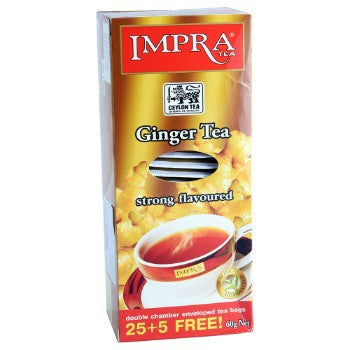 Impra Ginger Flavoured Ceylon Black Tea, 25 Count Tea Bags