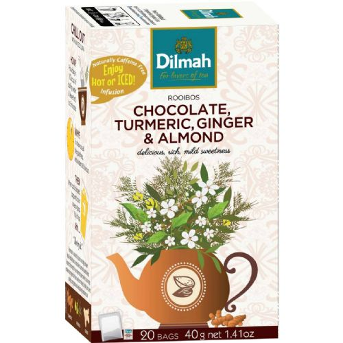 Dilmah Rooibos Chocolate Turmeric Ginger And Almond Infusion Tea, 20 Count Tea Bags
