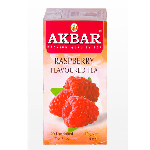 Akbar Raspberry Flavoured Ceylon Black Tea, 20 Count Tea Bags