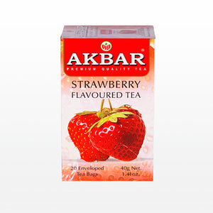 Akbar Strawberry Flavoured Ceylon Black Tea, 20 Count Tea Bags