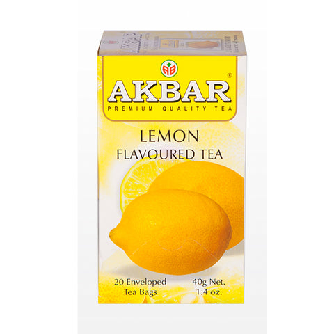 Akbar Lemon Flavoured Ceylon Black Tea, 20 Count Tea Bags