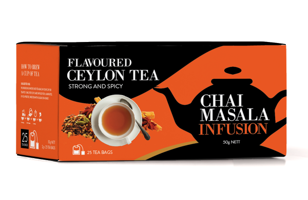 Tea Acres Chai Masala Flavoured Pure Ceylon Black Tea, 25 Count Tea Bags