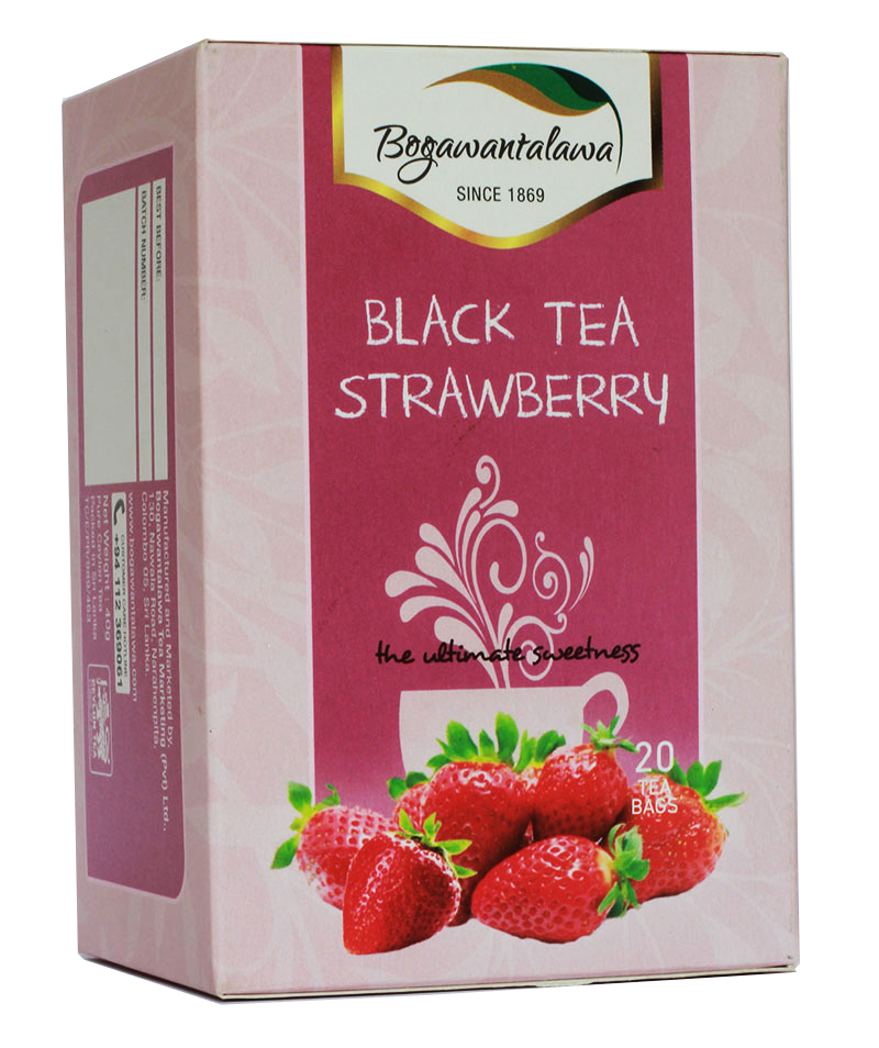Bogawantalawa Strawberry Flavoured Ceylon Black Tea, 20 Count Tea Bags