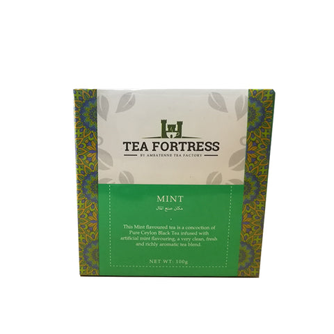Tea Fortress Mint Flavoured Pure Ceylon Black Tea, Loose Tea 100g