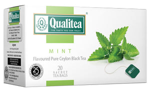 Qualitea Mint Flavoured Ceylon Black Tea, 20 Count Tea Bags