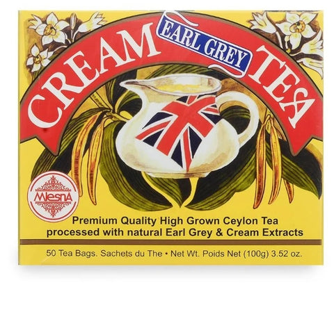 Mlesna Cream Earl Grey Flavoured Ceylon Tea, 50 Count Tea Bags