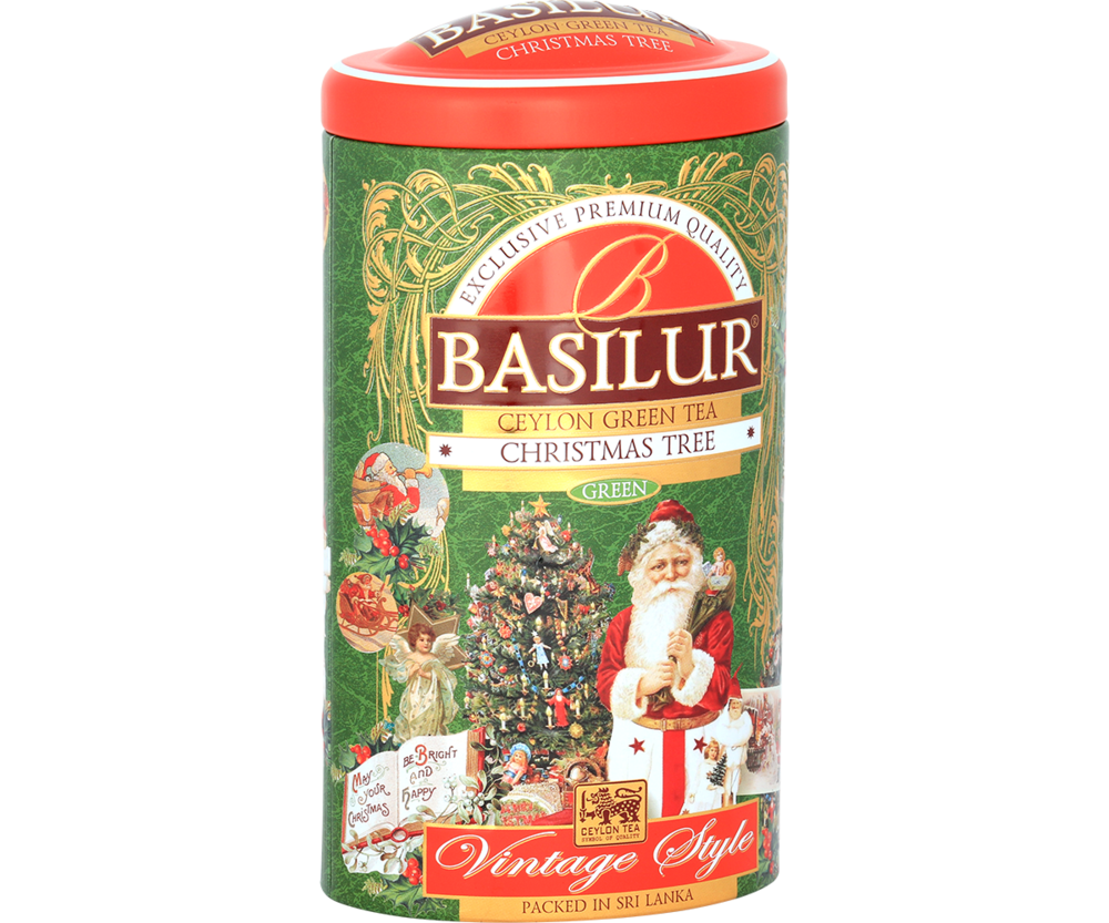 Basilur Christmas Tree Green Tea Tin Caddies