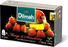 Dilmah Mango and Strawberry Flavoured Ceylon Black Tea, 20 Count Tea Bags