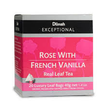 Dilmah Exceptional Rose With French Vanilla Tea, 20 Count Tea Bags