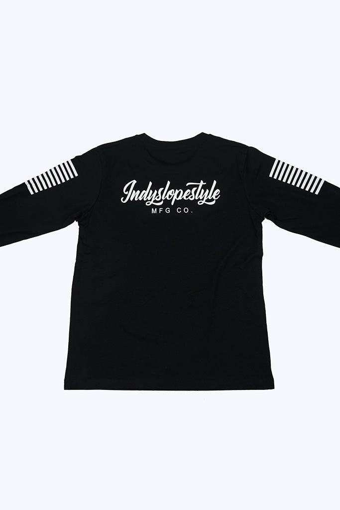 Indyslopestyle Kids Script Long Sleeve Tee Back