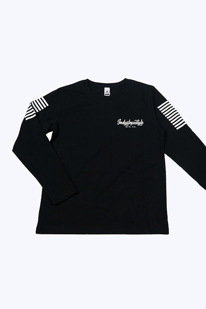 Indyslopestyle Kids Script Long Sleeve Tee Front