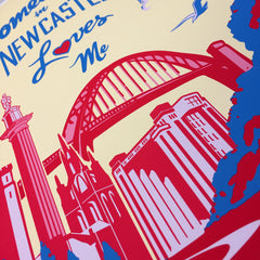 Somebody in Newcastle loves me - Reds and Blues - Giclee art print