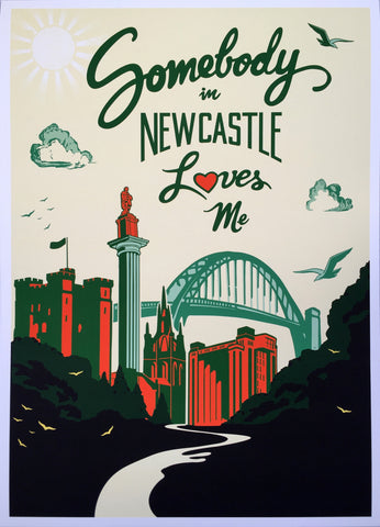 Somebody in Newcastle loves me - Greens and oranges - Giclee art print