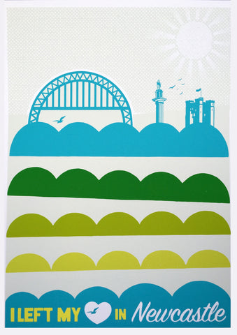 I left my Heart in Newcastle - pastel greens and blues - Art Prints