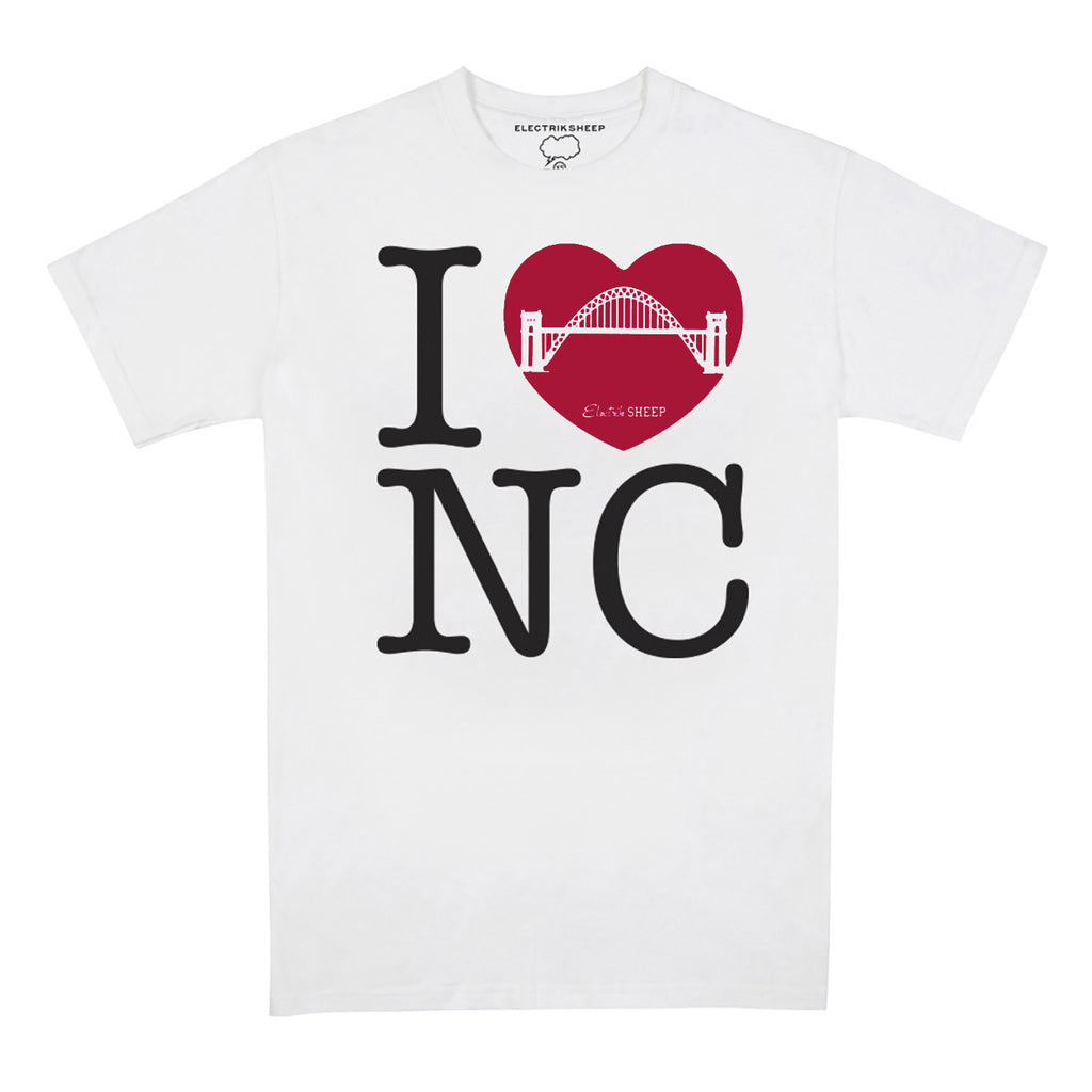 I Heart Newcastle - Red Heart on White