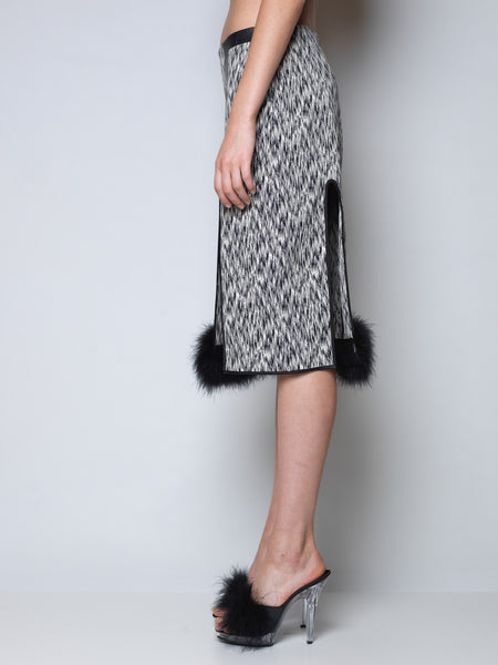 jacquard office skirt with marabou trim