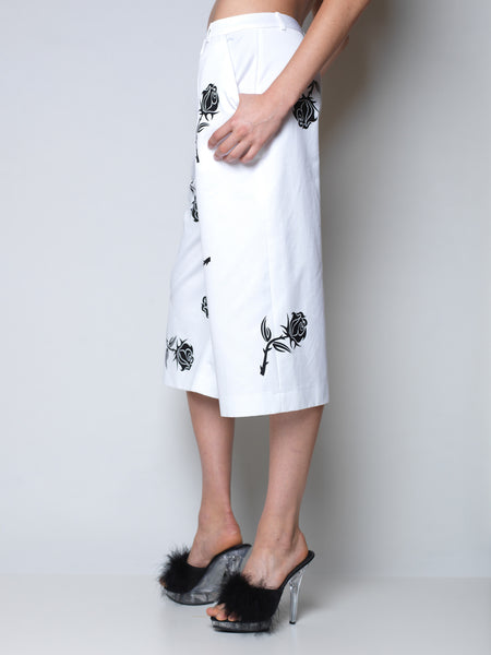 white culottes with raining rose print