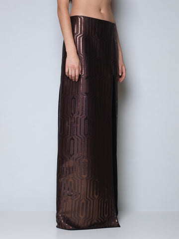 maxi skirt in metallic bronze