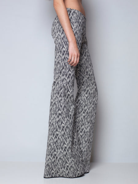 flared pants in snake jacquard