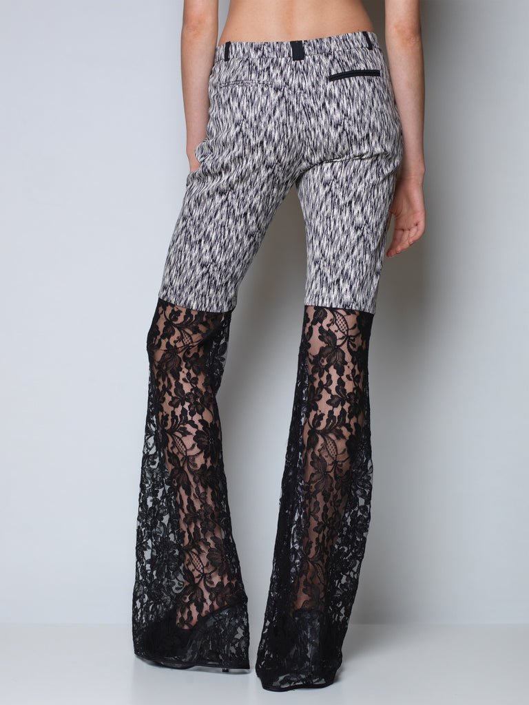flared pants jacquard and french lace