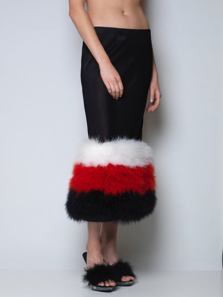 boudoir skirt with marabou feather hem