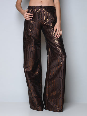maxi pants in metallic bronze jacquard