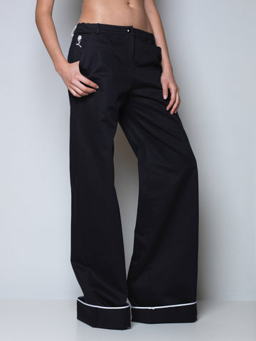 maxi pants in black cotton