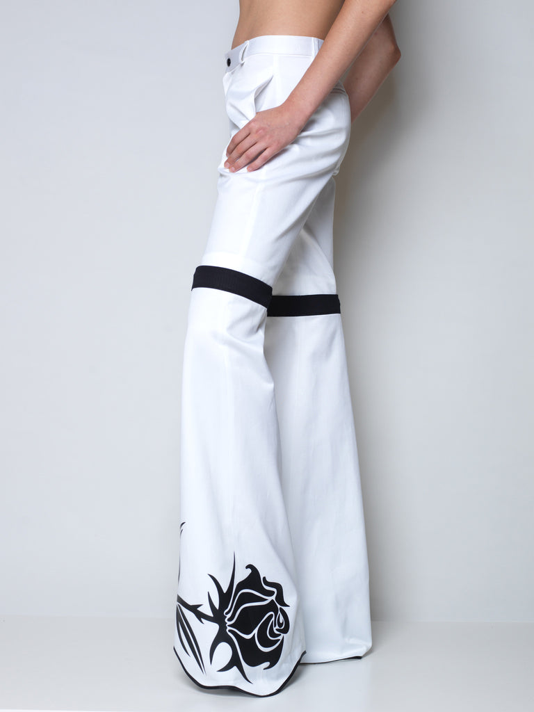 flared pants in white cotton with detachable bottom