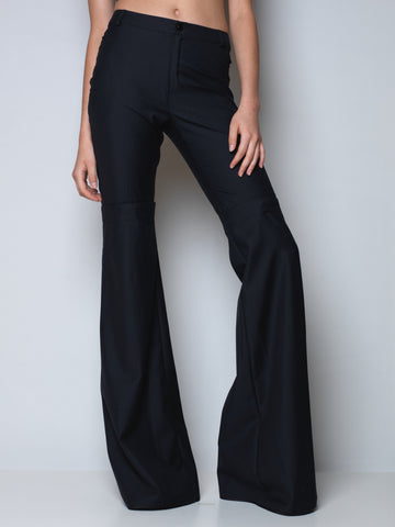 flared pants in black wool with detachable bottom part