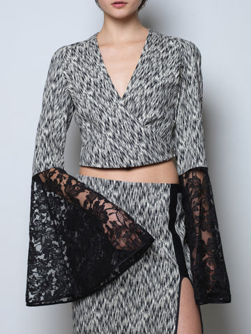 jacquard top with flared sleeves in french lace
