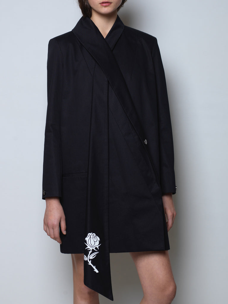 long cotton jacket with scarf collar