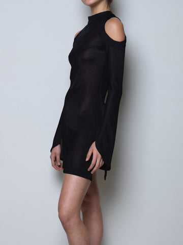 dress with open back and shoulders