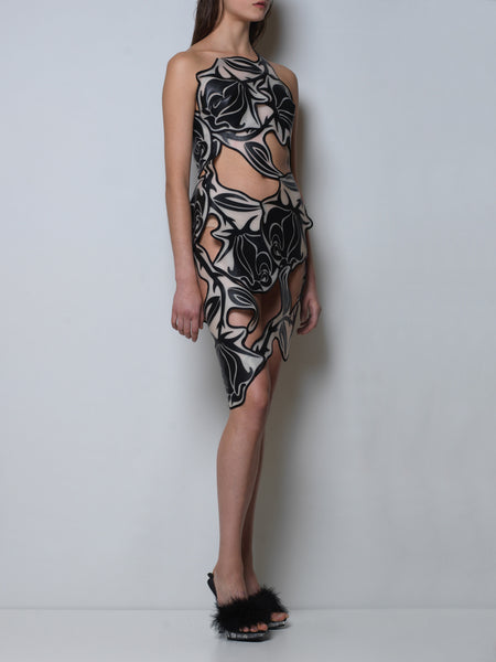 silicon cut-out dress with black roses
