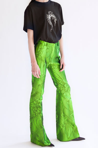flared pants in acid green flower jacquard