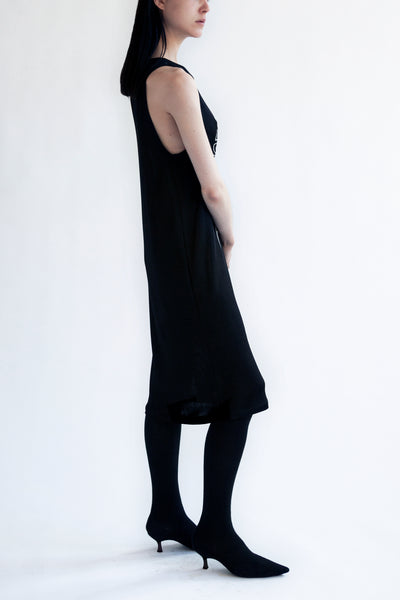 tank top dress in black viscose knit 'tune in drop out'