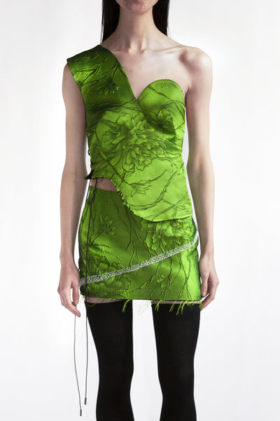 bustier in acid green flower jacquard
