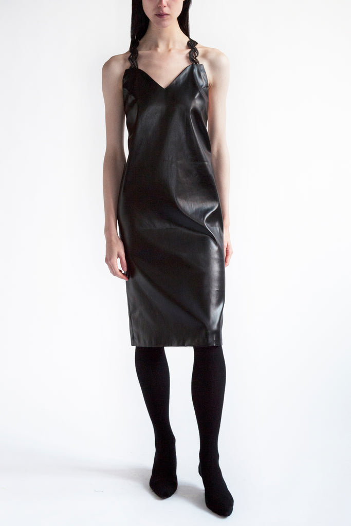 cocktail dress in liquid acetate with laced straps