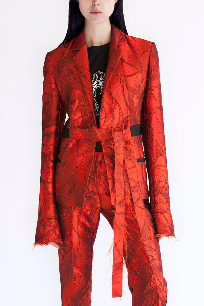 tailored suit jacket in lava flower jacquard