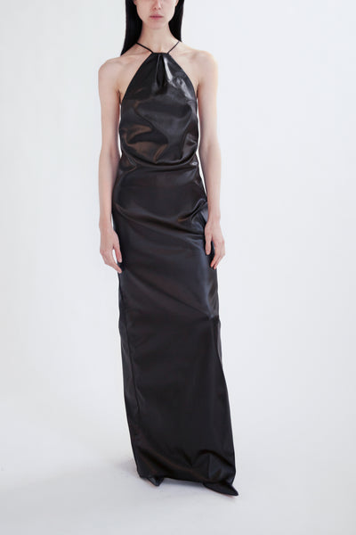 slip dress in faux leather stretch acetate