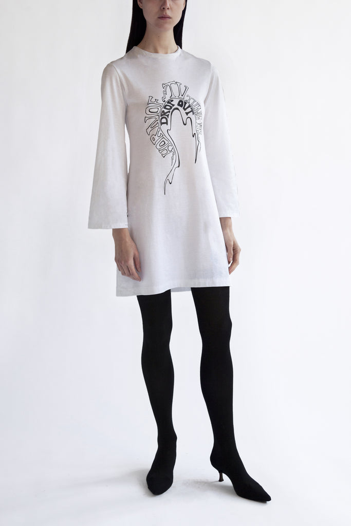 t-shirt dress 'tune in drop out' print