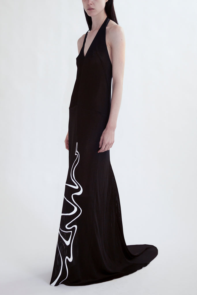 evening dress with open back and 'smoke' print