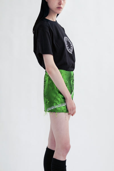 mini skirt in acid green flower jacquard