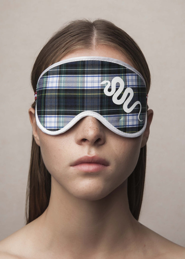 sleeping mask in plaid material with snake print