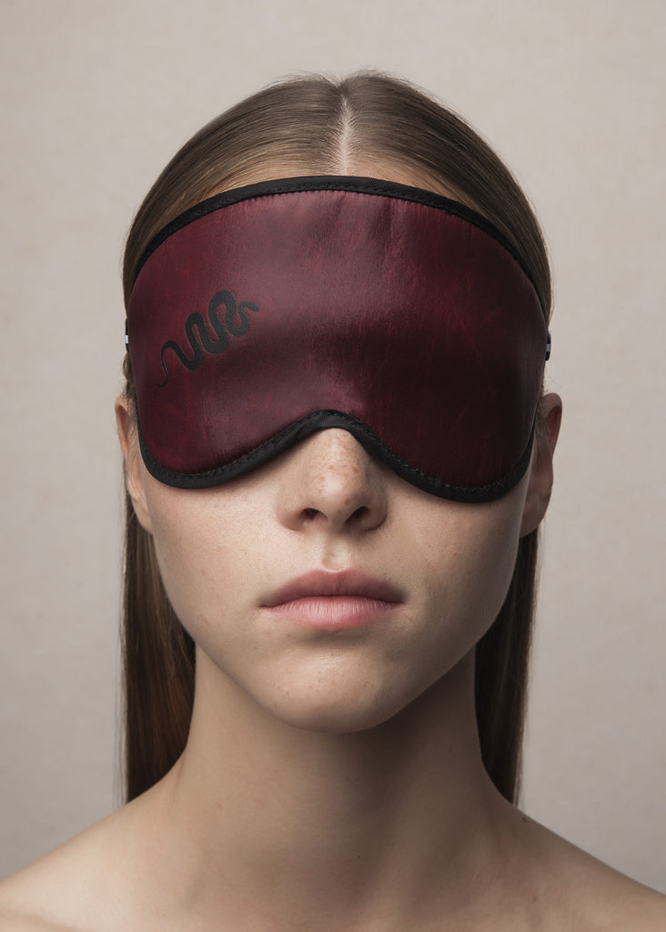 sleeping mask in oxblood acetate