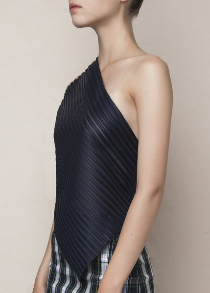 asymmetric top with open back  in navy neoprene