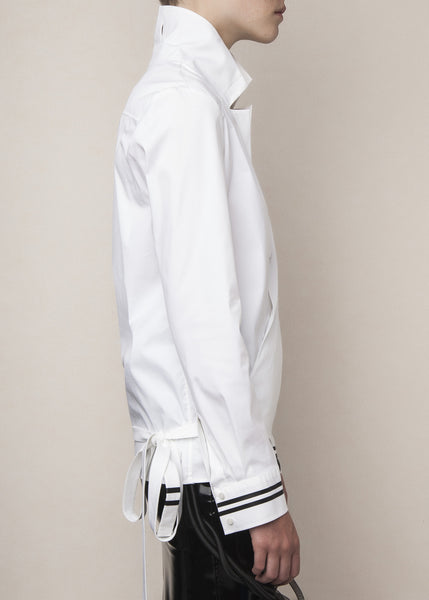 cross-over shirt in white stretch poplin