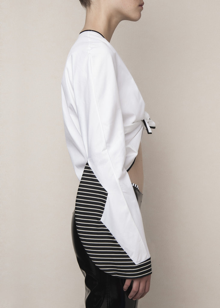 knot top in white poplin with constructed sleeves