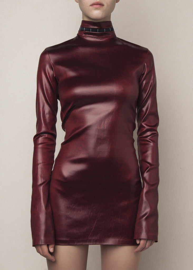 long sleeve turtleneck top in oxblood acetate