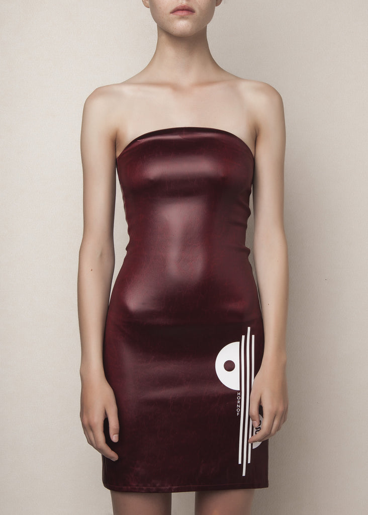 body conscious bustier dress in oxblood acetate